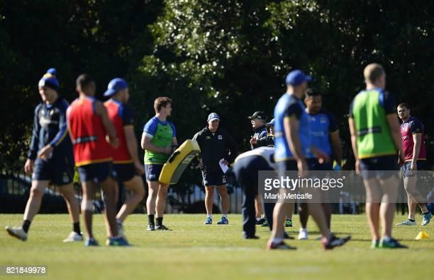 Eels head coach Brad Arthur talks to players during a Parramatta Eels NRL training session at on July 25 2017 in Sydney Australia