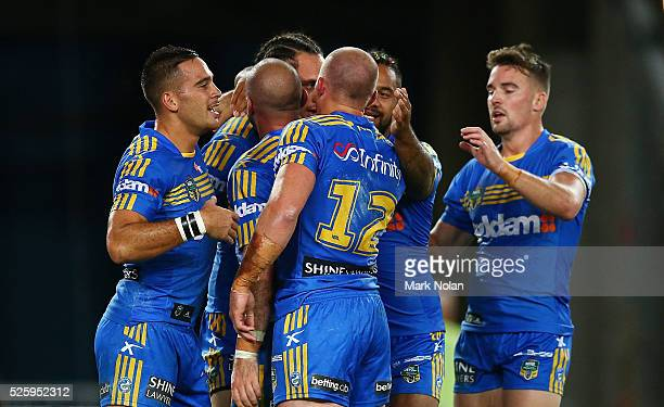 Eels players celebrate a try by Bradley Takairangi of the Eels during the round nine NRL match between the Parramatta Eels and the Canterbury...