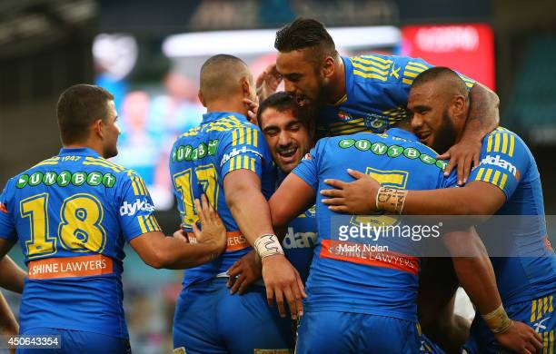 Eels players celebrate a try by Vai Toutai during the round 14 NRL match between the CanterburyBankstown Bulldogs and the Parramatta Eels at ANZ...