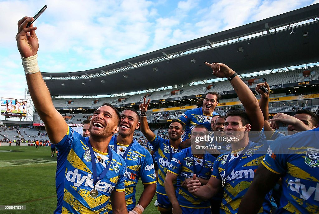 Eels players celebrate with a selfie after winning the 2016 Auckland Nines Grand Final match between the Warriors and the Eels at Eden Park on February 7, 2016 in Auckland, New Zealand.
