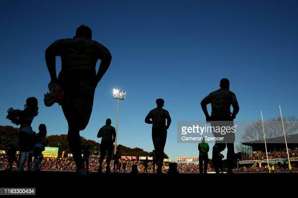 Eels players run onto the field during the round 18 NRL match between the Manly Sea Eagles and the Parramatta Eels at Lottoland on July 21 2019 in...