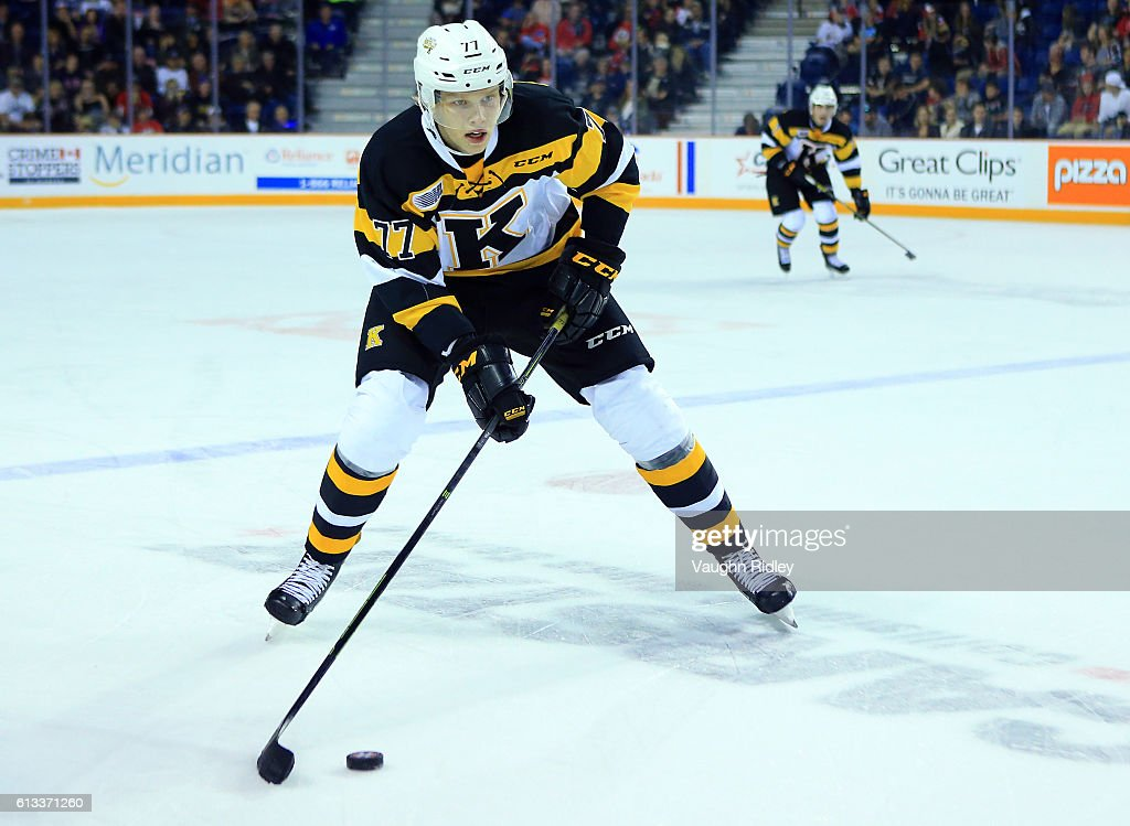 Eemeli Rasanen #77 of the Kingston Frontenacs skates with the puck during an OHL game against the Niagara IceDogs at the Meridian Centre on September 30, 2016 in St Catharines, Ontario, Canada.