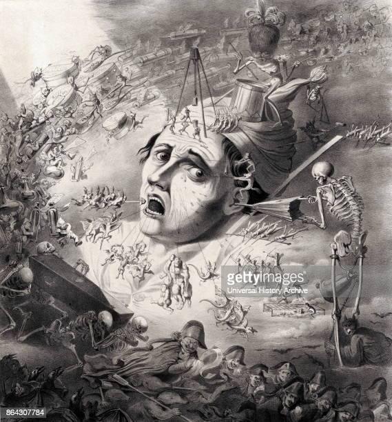 Eene aangezigtspynphantasie Print shows scene of fantastical creatures inflicting pain upon the head of a man by Carel Christiaan Antony Last...