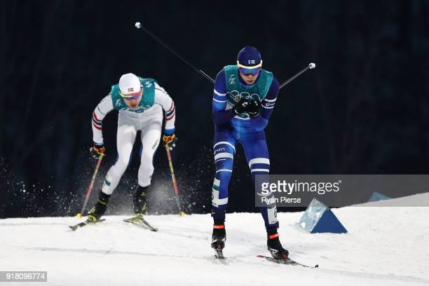 Eero Hirvonen of Finland competes during the Nordic Combined Individual Gundersen Normal Hill and 10km Cross Country on day five of the PyeongChang...