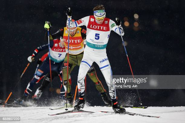 Eero Hirvonen of Finland competes in the Individual Gundersen 10km Large Hill during the FIS Nordic Combined World Cup presented by Viessmann Test...