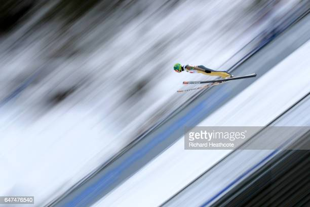 Eero Hirvonen of Finland competes in the Men's Nordic Combined HS130 Ski Jumping / 2 x 75km Team Sprint Cross Country during the FIS Nordic World Ski...