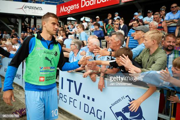 Eero Markkanen of Randers FC and fans of Randers FC celebrate that Randers FC still playing in the best league next season after the Danish Alka...