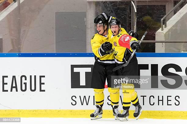 Eetu Koski of SaiPa Lappeenranta and Simon Backman of SaiPa Lappeenranta celebrates after goal during the Champions Hockey League match between Lulea...