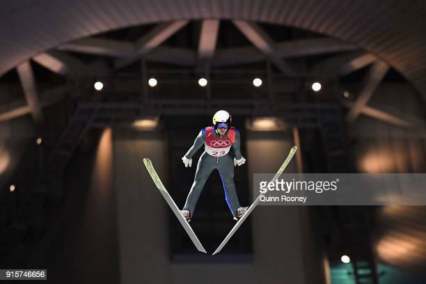 Eetu Nousiainen of Finland competes in the Men's Normal Hill Individual Qualification at Alpensia Ski Jumping Centre on February 8 2018 in...