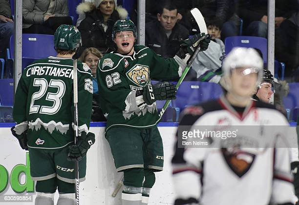 Eetu Tuulola of the Everett Silvertips celebrates his goal against the Vancouver Giants with teammate Jake Christiansen during the first period of...