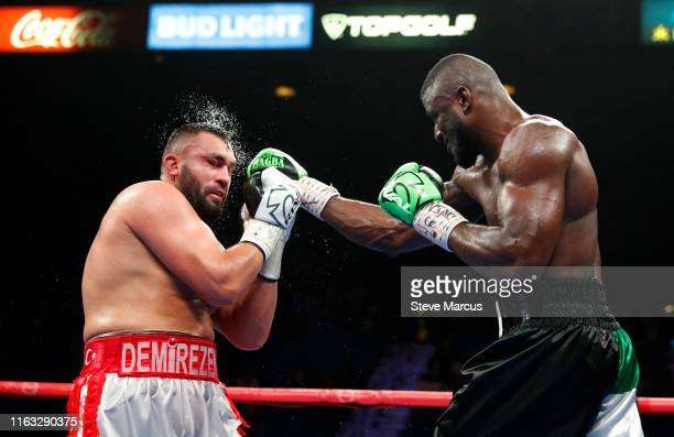 Efe Ajagba lands a punch on Ali Eren Demirezen during a heavyweight fight at MGM Grand Garden Arena on July 20 2019 in Las Vegas Nevada Ajagba won...