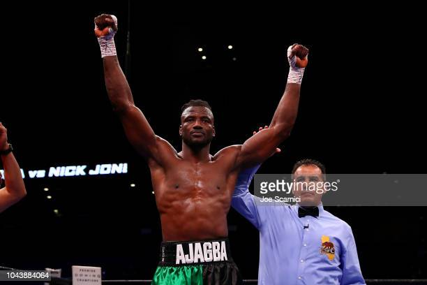Efe Ajagba of Nigeria celebrates his win by knockout in the first round against Nick Jones during the Heavyweight bout at Citizens Business Bank...