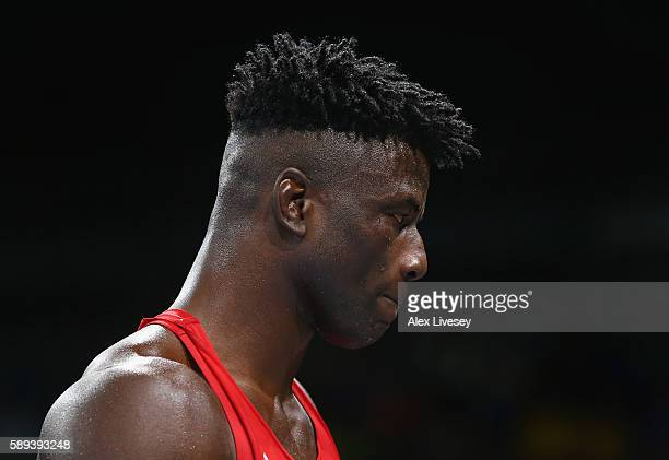 Efe Ajagba of Nigeria looks on after his victory over Nigel Paul of Trinidad and Tobago in the Men's Super Heavyweight preliminaries on Day 8 of the...