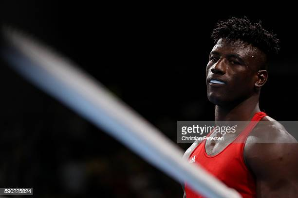 Efe Ajagba of Nigeria looks on during the Men's Super Heavy Quarterfinal 4 on Day 11 of the Rio 2016 Olympic Games at Riocentro Pavilion 6 on August...