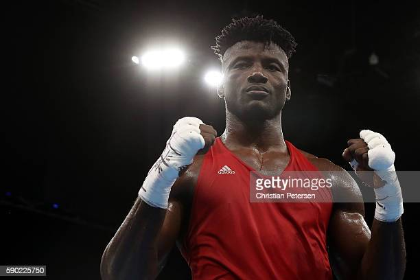 Efe Ajagba of Nigeria poses for a photo after being defeated by Ivan Dychko of Kazakhstan in the Men's Super Heavy Quarterfinal 4 on Day 11 of the...
