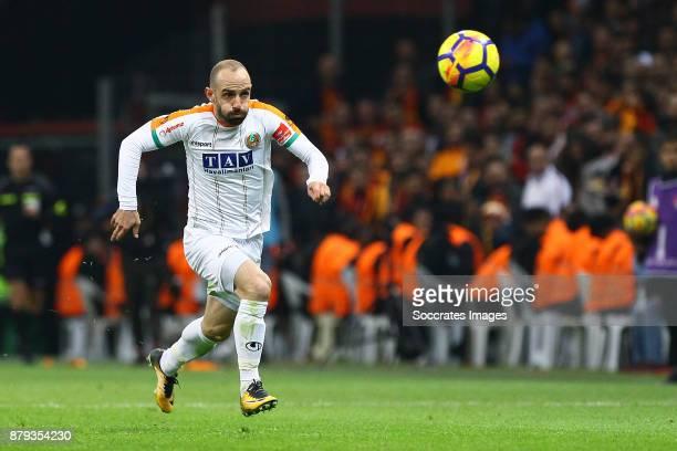 Efecan Karaca of Alanyaspor during the Turkish Super lig match between Galatasaray v Alanyaspor at the Turk Telecom Stadum on November 25, 2017 in...