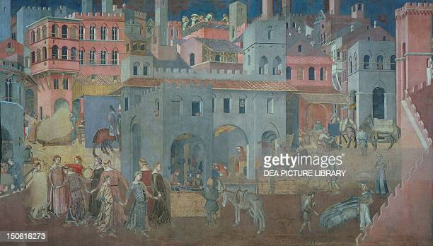 Effects of good government in cities detail from the Allegory and effects of good and bad government in town and country 13371343 by Ambrogio...