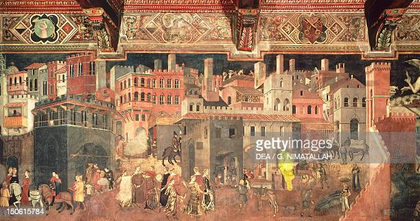 Effects of good government in city detail from the Allegory and effects of good and bad government in town and country 13371343 by Ambrogio...