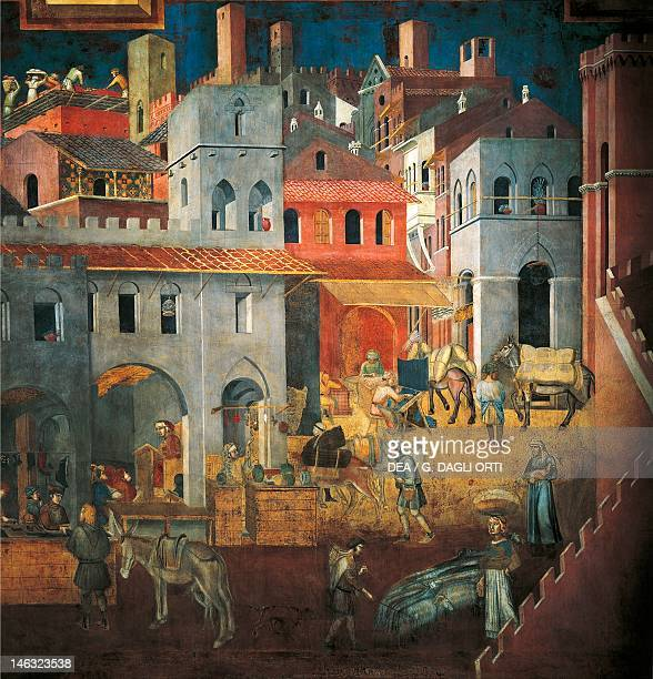 Effects of Good Government in the City detail from the Allegory and Effects of Good and Bad Government on Town and Country 13371343 by Ambrogio...