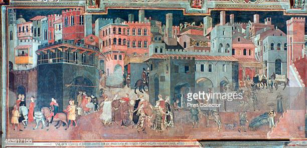'Effects of Good Government on the City Life' c1330 Ambrogio Lorenzetti frescoed the side walls of the Council Room of the City Hall of Siena The...