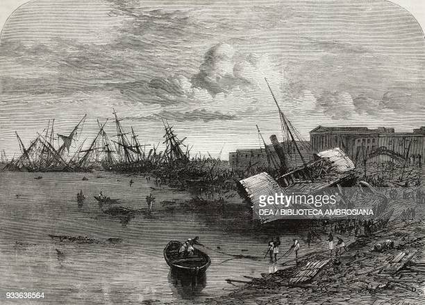 Effects of the Cyclone at Calcutta on 5 October India illustration from the magazine The Illustrated London News volume XLIV November 19 1864
