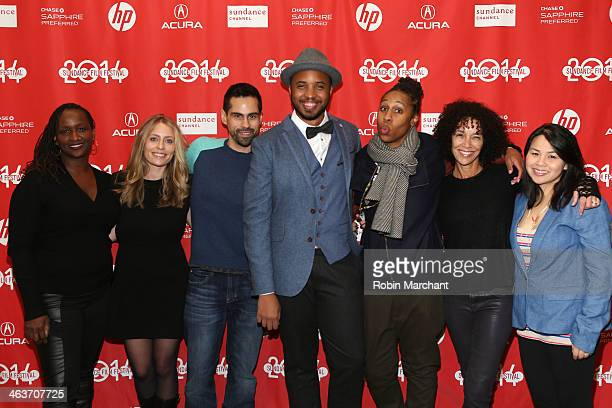 Effie Brown Julia Lebedeu Angel Lopez Justin Simien Lena White Stephanie Allain Bray and Ann Le attend the premiere of Dear White People at the...