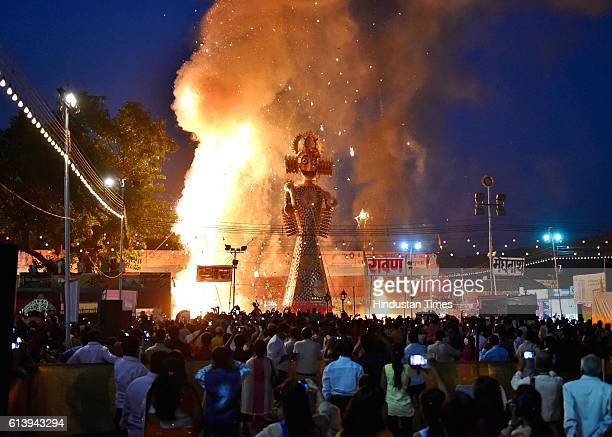 Effigies of demon Ravana Kumbhkaran and Meghnath being set on fire during the Dusshera celebrations at Shri Dharmic Leela Committee on October 10...