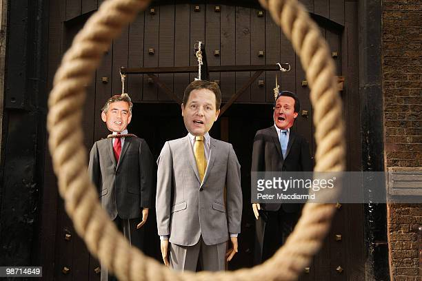 Effigies of party leaders Gordon Brown, Nick Clegg and David Cameron are displayed hanging on a gallows outside the London Dungeon attraction on...