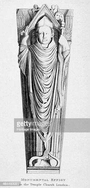 Effigy of a bishop Temple Church City of London 1812 The figure lies in full episcopal robes with one hand raised in benediction and a crozier in the...