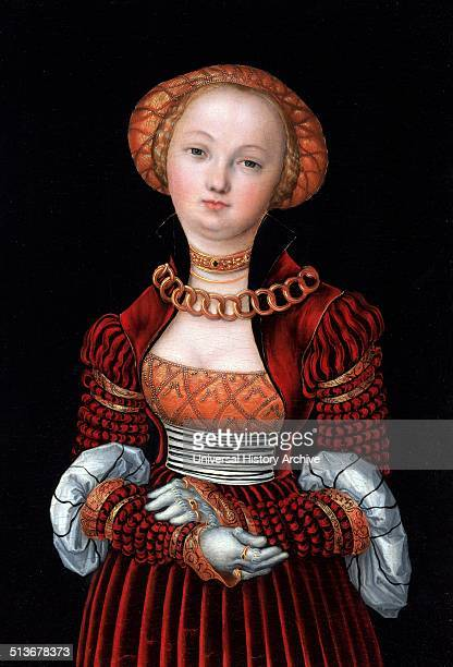 Effigy of a young woman By Lucas Cranach the Elder German Renaissance painter and printmaker in woodcut and engraving Dated 16th Century