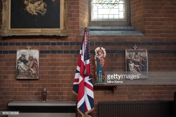 Effigy of Saint George in St Peter's Church in Wapping London England United Kingdom St Peter's Wapping is a Grade I listed Anglican church in...