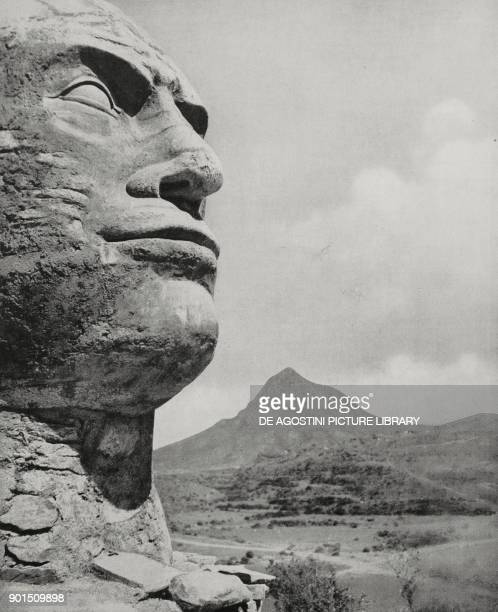 Effigy of the Duce Benito Mussolini carved by some soldiers in the Adwa Valley in front of the Mount Sulloda Ethiopia from L'Illustrazione Italiana...