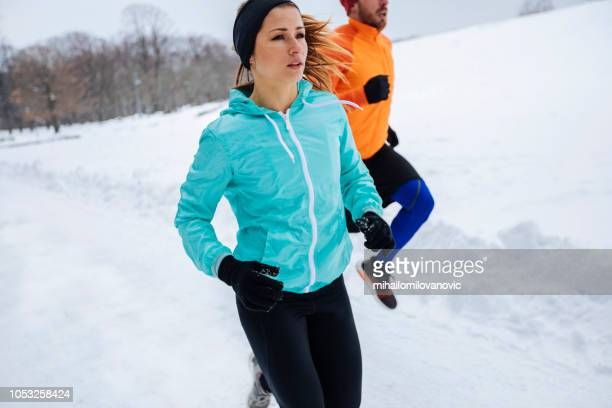 two young athletes their running training