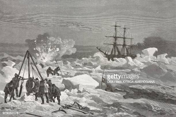 Efforts to break the ice drawing by Edouard Riou from the German edition from The Tegetthoff Odyssey and the discoveries by lieutenants Payer and...