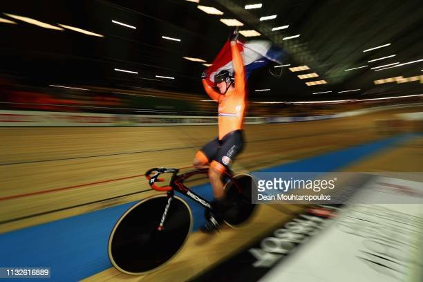 effrey Hoogland of the Netherlands celebrates winning the gold medal in the Men's team sprint final on day one of the UCI Track Cycling World...