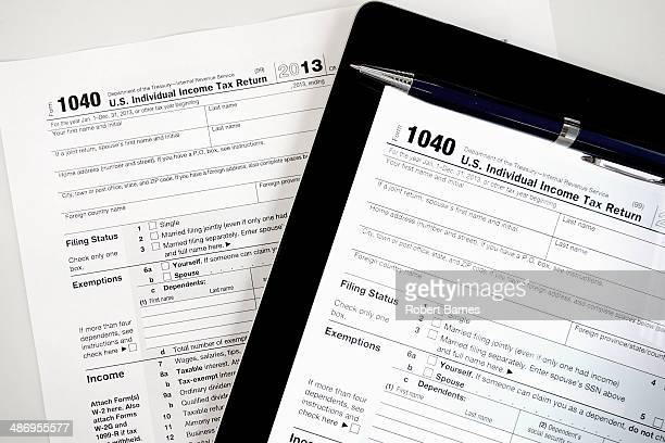 Efile or Paper File IRS 1040 Tax form shown in paper and electronic filing formats