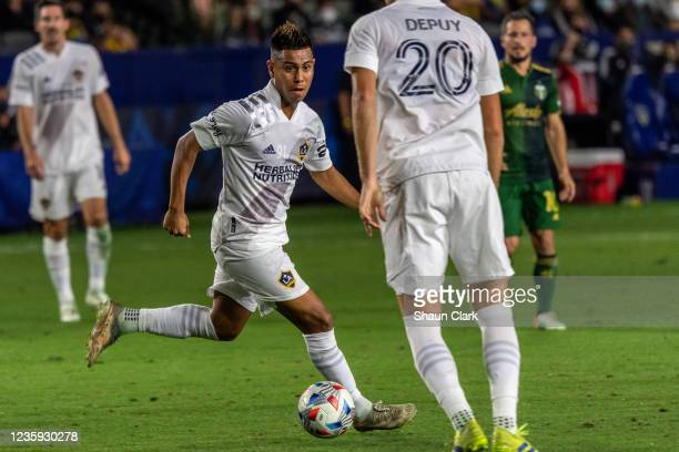 Efrain Alvarez of Los Angeles Galaxy controls the ball during the game against Portland Timbers at the Dignity Health Sports Park on October 16, 2021...