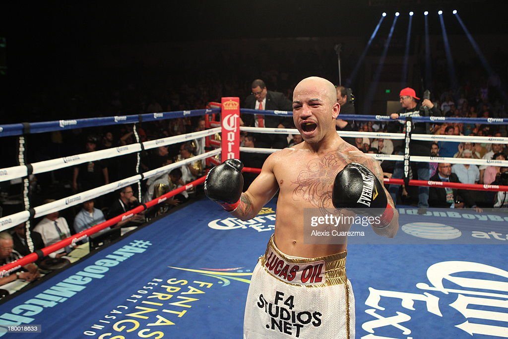 Efrain Esquivias celebrates his 9th round TKO victory against Rafael Marquez during their fight as the main co-event at the Fantasy Springs Resort Casino - Special Events Center on September 7, 2013 in Indio, California.