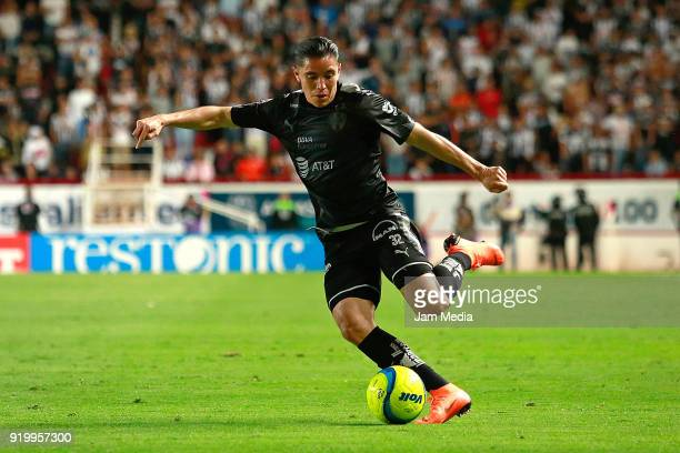 Efrain Velarde of Monterrey kicks the ball during the 8th round match between Necaxa and Monterrey as part of the Torneo Clausura 2018 Liga MX at...