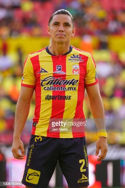 Efrain Velarde of Morelia pose prior during the second round match between Morelia and Santos Laguna as part of the Torneo Apertura 2018 Liga MX at...