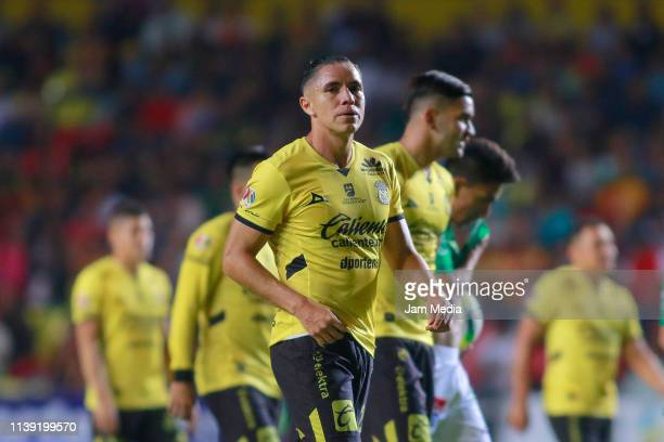 Efrain Velarde of Morelia reacts after the 12th round match between Morelia and Leon as part of the Torneo Clausura 2019 Liga MX at Jose Maria...