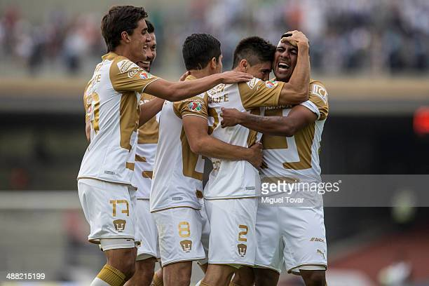 Efrain Velarde of Pumas celebrates after scoring during the Quarterfinal second leg match between Pumas UNAM and Pachuca as part of the Clausura 2014...