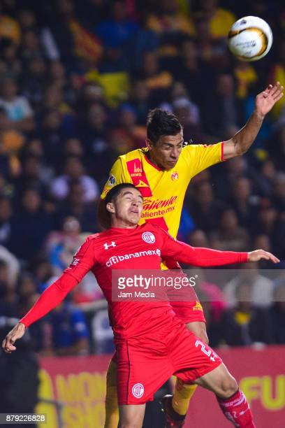 Efrain Velarde of Toluca jumps to head the ball during the quarter finals second leg match between Morelia and Toluca as part of the Torneo Apertura...