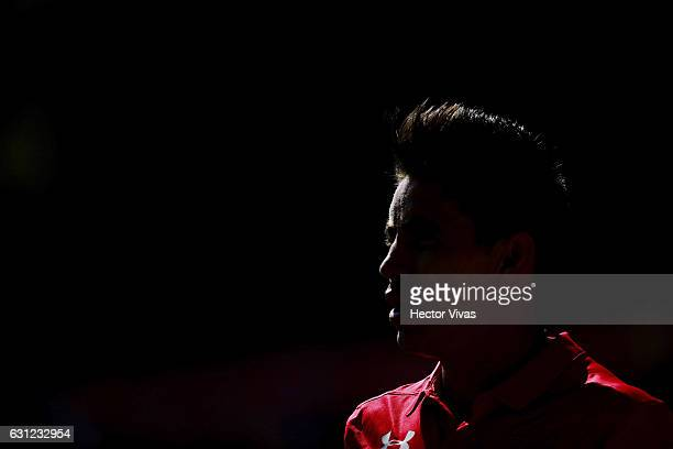 Efrain Velarde of Toluca looks on during the 1st round match between Toluca and Atlas as part of the Torneo Clausura 2017 Liga MX at Alberto 'Chivo'...