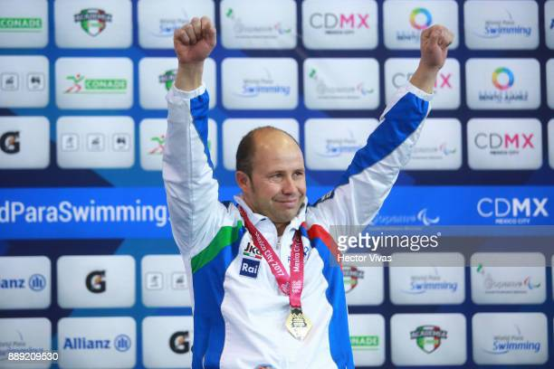 Efrem Morelli of Italy Gold medal celebrates in men's 150 m Individual Medley SM4 during day 7 of the Para Swimming World Championship Mexico City...