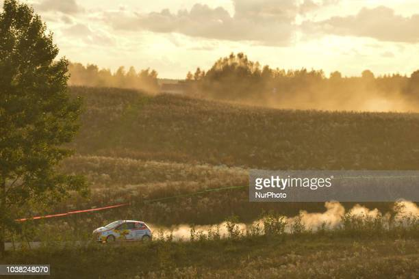 Efren Llarena and Sara Fernandez on Peugeot 208 R2 in action during Paprotki 1522km stage on Day Two of the PZM 75th Rally Poland in Hotel Gobiewski...