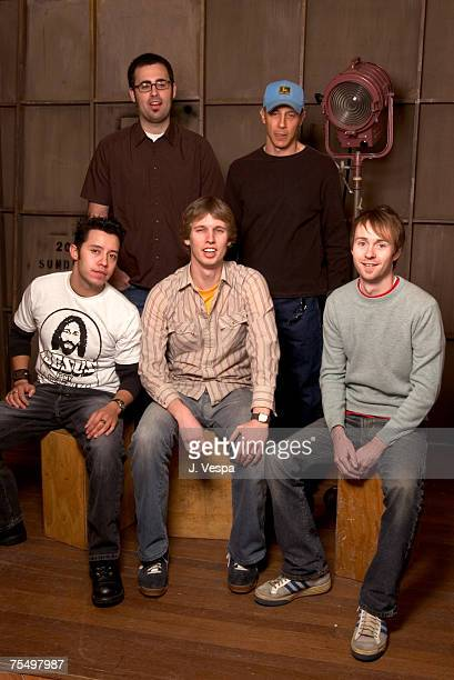 Efren Ramirez, Jared Hess, director, Jon Heder, Jon Gries and Aaran Ruell at the HP Portrait Studio in Park City, Utah