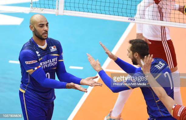 EFrench team celebrate a point during FIVB World Championships match between Poland and France on September 22 2018 in Varna Bulgaria