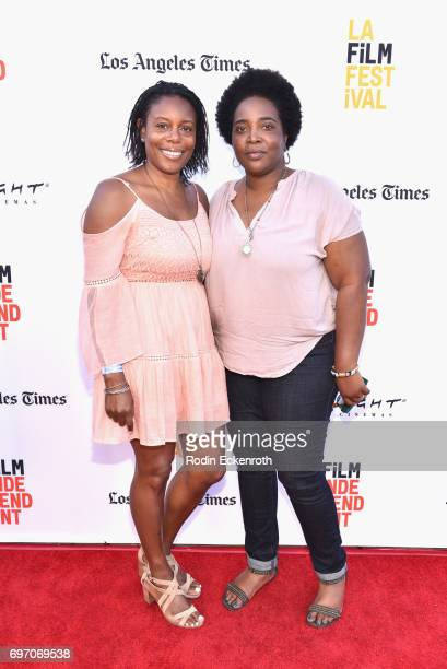 Efuru Flowers and Moira Griffin attend Shorts Program 1 during the 2017 Los Angeles Film Festival at Arclight Cinemas Culver City on June 17 2017 in...