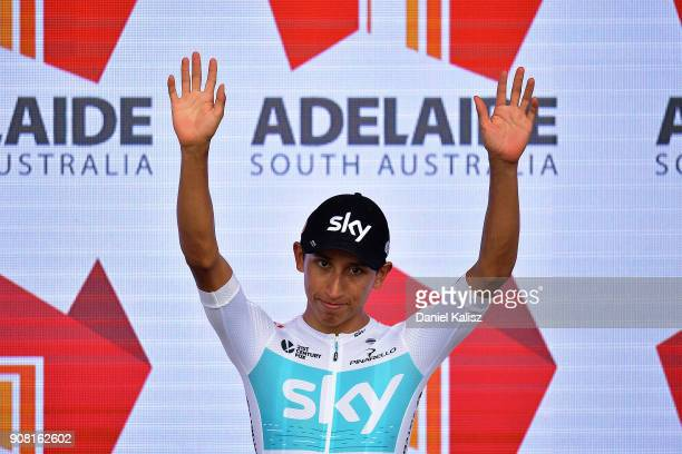 Egan Arley Bernal G—mez of Columbia and Team SKY celebrates on the podium after claiming the young riders jersey after during stage six of the 2018...